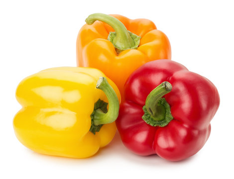 yellow, orange and red peppers isolated on the white background