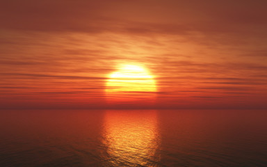 3D sunset over sea
