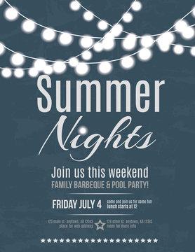 Elegant summer night party invitation flyer template