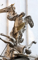 Saint Michael with gold shield and sword of Vienna
