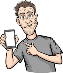 shocked man showing a mobile app on a smart phone