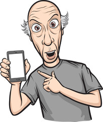 shocked bald man showing a mobile app on a smart phone