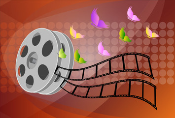 illustration of rolling film reel on abstract background
