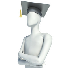 3D male graduate on white background