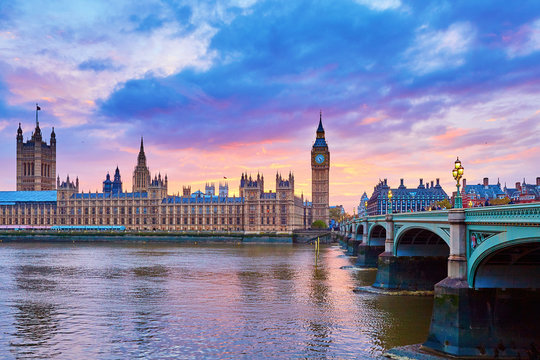 Big Ben and Westminster Bridge with river Thames
