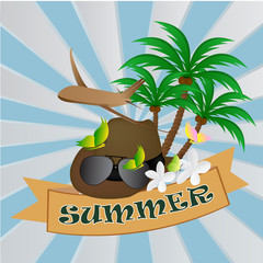 hat on summer background. Vector illustration. Eps 10.
