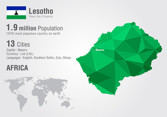 Wall Mural - Lesotho world map with a pixel diamond texture.