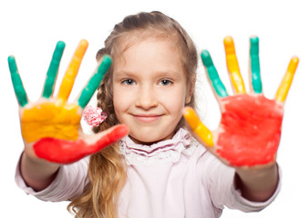 Girl with painted palms