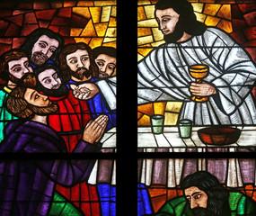 Last supper, Stained glass in Votiv Kirche in Vienna, Austria