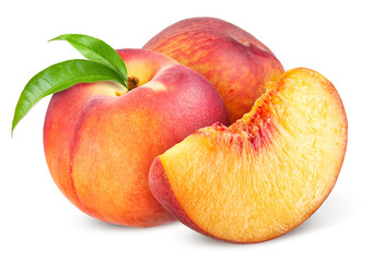 Peach. Fruit with slice isolated on white background Wall mural