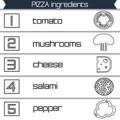 Pizza ingredients infographics in black and white style, vector