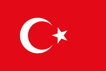 Vector background of turkey flag. Original proportions