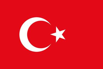 Vector background of turkey flag. Original proportions