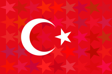 Turkey flag on unusual red stars background.