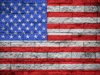 US national flag on stone wall background