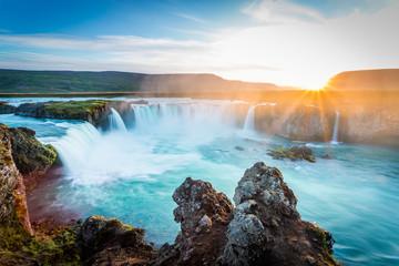 Godafoss at sunset, Iceland, amazing waterfall