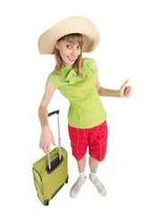Funny girl tourist with bag in green blouse.