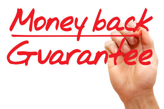Hand writing Money back guarantee with red marker