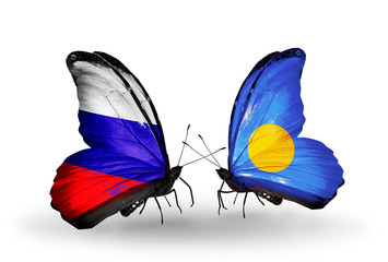 Two butterflies with flags Russia and Palau