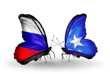 Two butterflies with flags Russia and Somalia