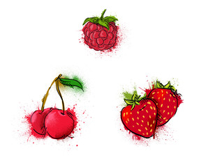 cherry, strawberry, raspberry vector illustration. grunge.