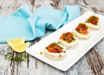 canape with salmon and dill