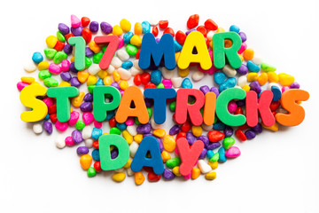 17th mar st patrick's day word in colorful stone