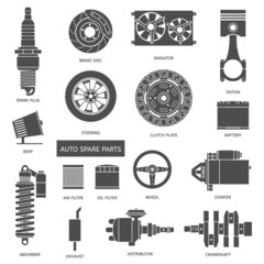 Set of auto spare parts. Car repair icons in flat style