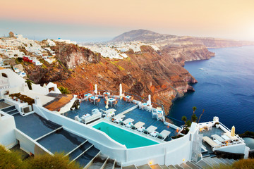 Aluminium Prints Santorini Fira, the capital of Santorini island, Greece at sunset