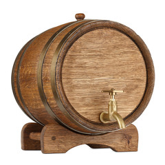 Vintage wooden barrel isolated on white