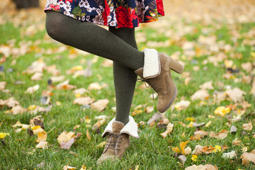 Female wool tights and autumn shoes