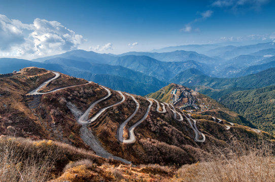 Curvy roads , Silk trading route between China and India