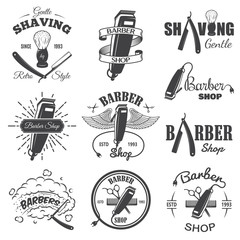 Second set of vintage barber shop emblems.