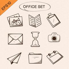 Office stationery symbols set.