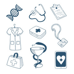 Medical staff icons collection.