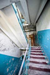 Stairs in Chernobyl-2 military base, Chernobyl Zone, Ukraine