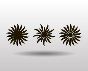 Vector ornament, abstract sun, flower. Tattoo.