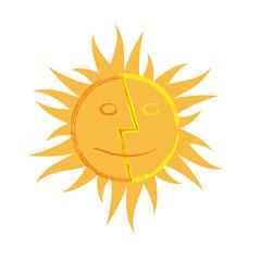 vector sign sun double faces