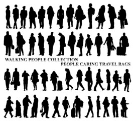 Silhouettes of walking people, caring bags, talking on the phone