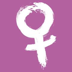 Weltfrauentag, Venus, Symbol, Pinselstrich, Vektor
