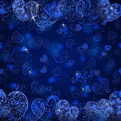 Background of hearts, in dark blue colors
