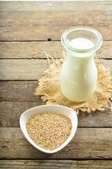 vegan sesame milk in glass
