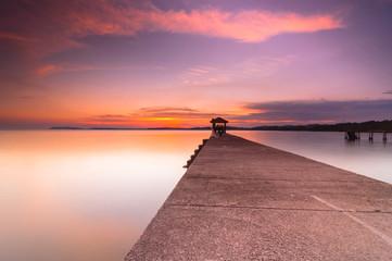 sunset at fishing jetty