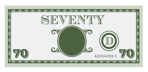Seventy money bill image. With space to add text