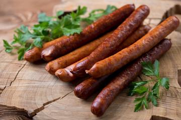 Sausages with parsley, close-up, horizontal shot
