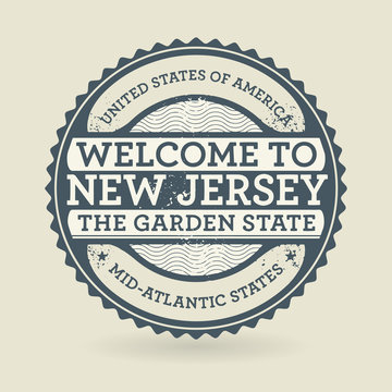 Grunge rubber stamp with text Welcome to New Jersey, USA