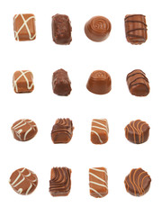 Set of delicious chocolate praline candies.
