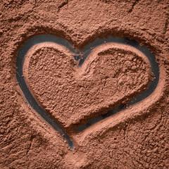 Heart Drawn on the Cocoa Powder