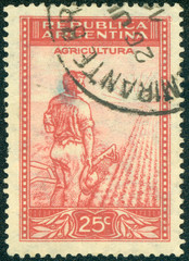 stamp printed in the Argentina shows Farmer Plowing