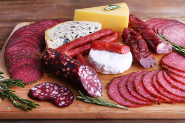 Assortment of smoked sausages and cheese